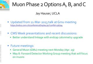 Muon Phase 2 Options A, B, and C