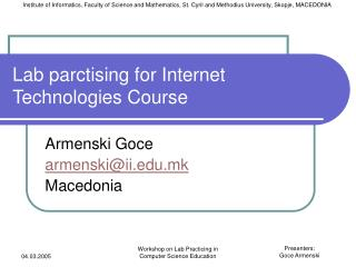 Lab parctising for Internet Technologies Course