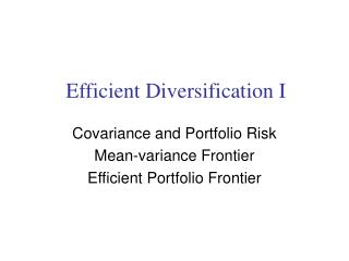 Efficient Diversification I