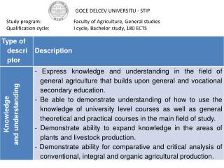 Study program:		Faculty of Agriculture, General studies