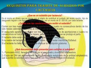 REQUISITOS PARA TRAMITE DE  SUBSIDIOS POR LACTANCIA