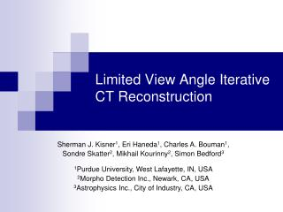 Limited View Angle Iterative CT Reconstruction