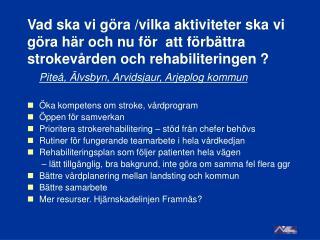 Piteå, Älvsbyn, Arvidsjaur, Arjeplog kommun Öka kompetens om stroke, vårdprogram