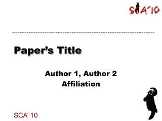 Paper's Title