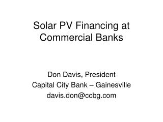 Solar PV Financing at Commercial Banks