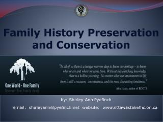 Family History Preservation  and Conservation
