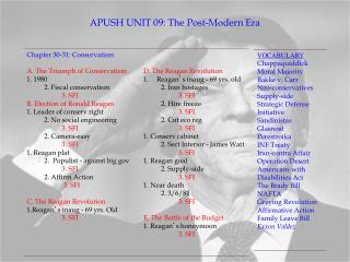 APUSH UNIT 09: The Post-Modern Era