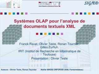 Syst mes OLAP pour l analyse de documents textuels XML