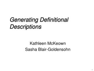 Generating Definitional Descriptions
