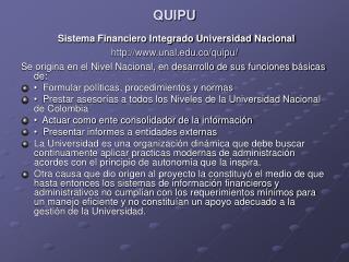 QUIPU Sistema Financiero Integrado Universidad Nacional unal.co/quipu/