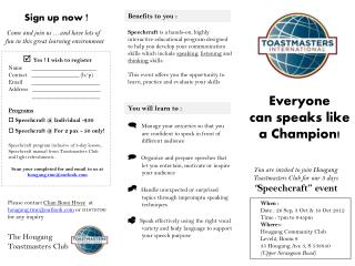 """You are invited to join  Hougang  Toastmasters Club for our 3 days """" Speechcraft """" event"""
