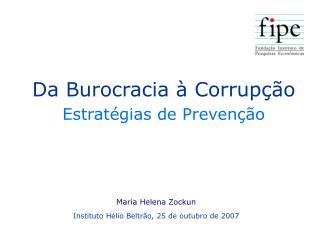 Da Burocracia à Corrupção Estratégias de Prevenção