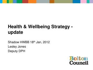 Health & Wellbeing Strategy - update