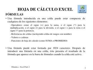 HOJA DE CÁLCULO EXCEL FÓRMULAS