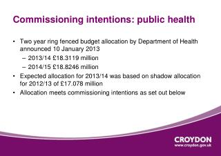 Commissioning intentions: public health