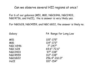 Can we observe several HII regions at once ?