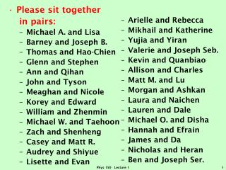Please sit together    in pairs: Michael A. and Lisa Barney and Joseph B. Thomas and  Hao-Chien