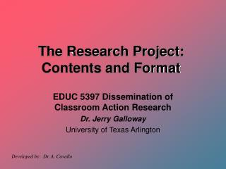 The Research Project: Contents and Format