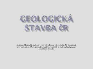 geologickÁ  STAVBA ČR