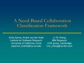 A Need-Based Collaboration Classification Framework