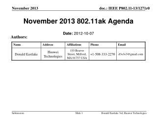 November 2013  802.11ak Agenda