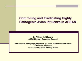 Controlling and Eradicating Highly Pathogenic Avian Influenza in ASEAN