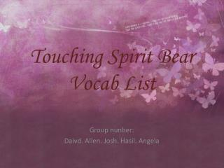 Touching Spirit Bear Vocab List