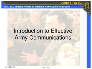 Introduction to Effective  Army Communications