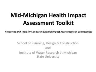 Mid-Michigan Health Impact Assessment Toolkit