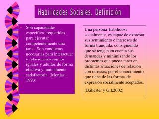 Habilidades Sociales. Definición