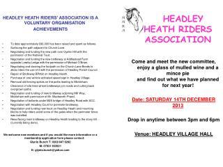 HEADLEY    HEATH RIDERS  ASSOCIATION