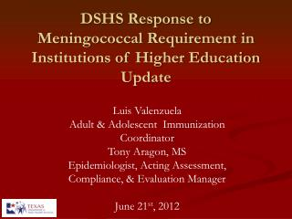 DSHS Response to Meningococcal Requirement in  Institutions of Higher Education Update