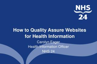 How to Quality Assure Websites for Health Information
