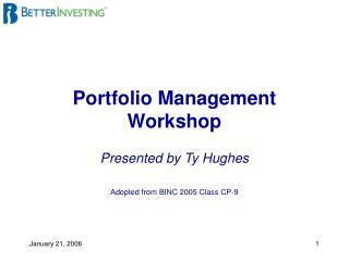 Portfolio Management Workshop