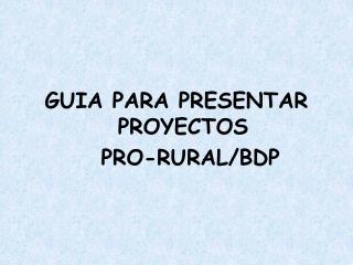 GUIA PARA PRESENTAR PROYECTOS     PRO-RURAL/BDP