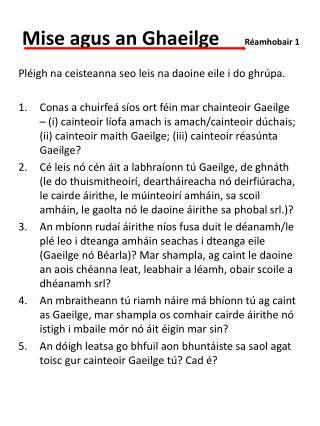 Mise agus an Ghaeilge   Réamhobair 1