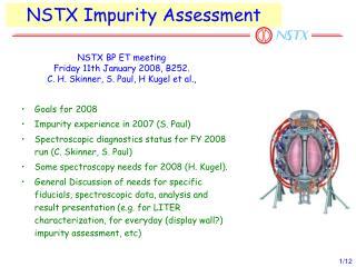 NSTX Impurity Assessment