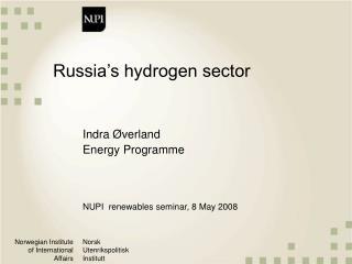 Russia�s hydrogen sector