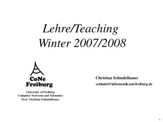 Lehre/Teaching  Winter 2007/2008