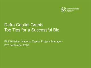 Defra Capital Grants Top Tips for a Successful Bid