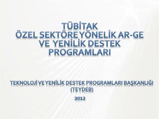 Teknolojİ  ve  Yenİlİk  Destek  ProgramlarI BaşkanlIğI (TEYDEB)