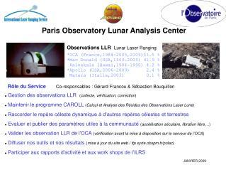 Paris Observatory Lunar Analysis Center