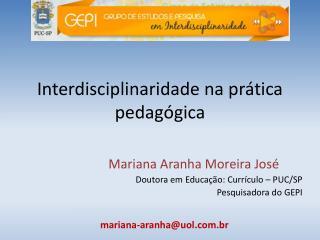 Interdisciplinaridade na prática pedagógica