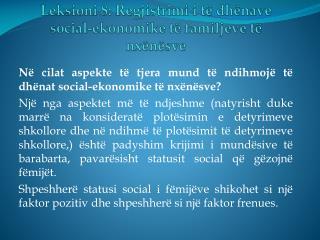 Leksioni 8: Regjistrimi i të dhënave social-ekonomike të familjeve të nxënësve