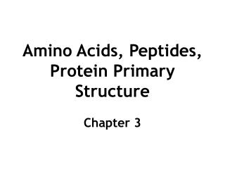 Amino Acids, Peptides, Protein Primary Structure