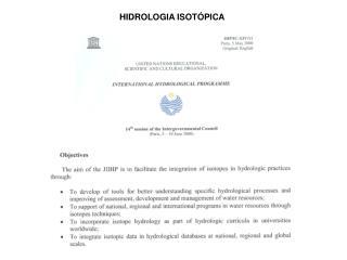HIDROLOGIA ISOT�PICA