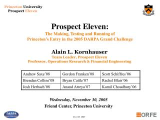 Wednesday, November 30, 2005 Friend Center, Princeton University
