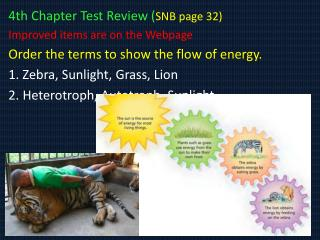 4th Chapter Test Review ( SNB page 32) Improved items are on the Webpage