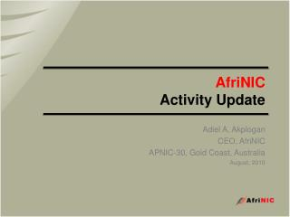 AfriNIC Activity Update