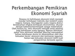 Perkembangan Pemikiran Ekonomi Syariah